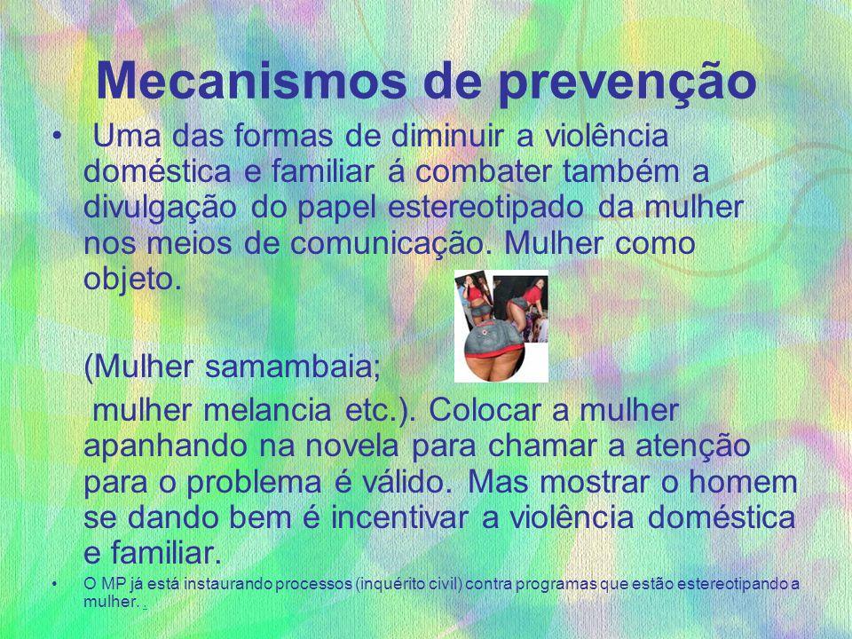 Mecanismos de prevenção Uma das formas de diminuir a violência doméstica e familiar á combater também a divulgação do papel estereotipado da mulher no