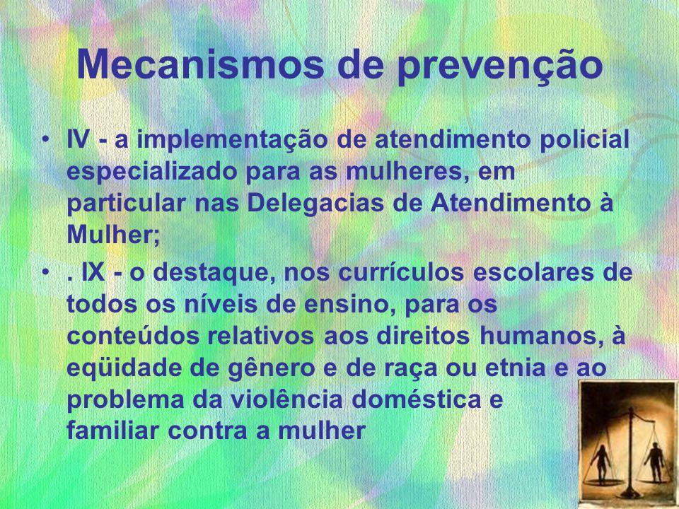 Mecanismos de prevenção IV - a implementação de atendimento policial especializado para as mulheres, em particular nas Delegacias de Atendimento à Mul