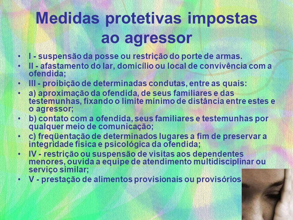 Medidas protetivas impostas ao agressor I - suspensão da posse ou restrição do porte de armas. II - afastamento do lar, domicílio ou local de convivên