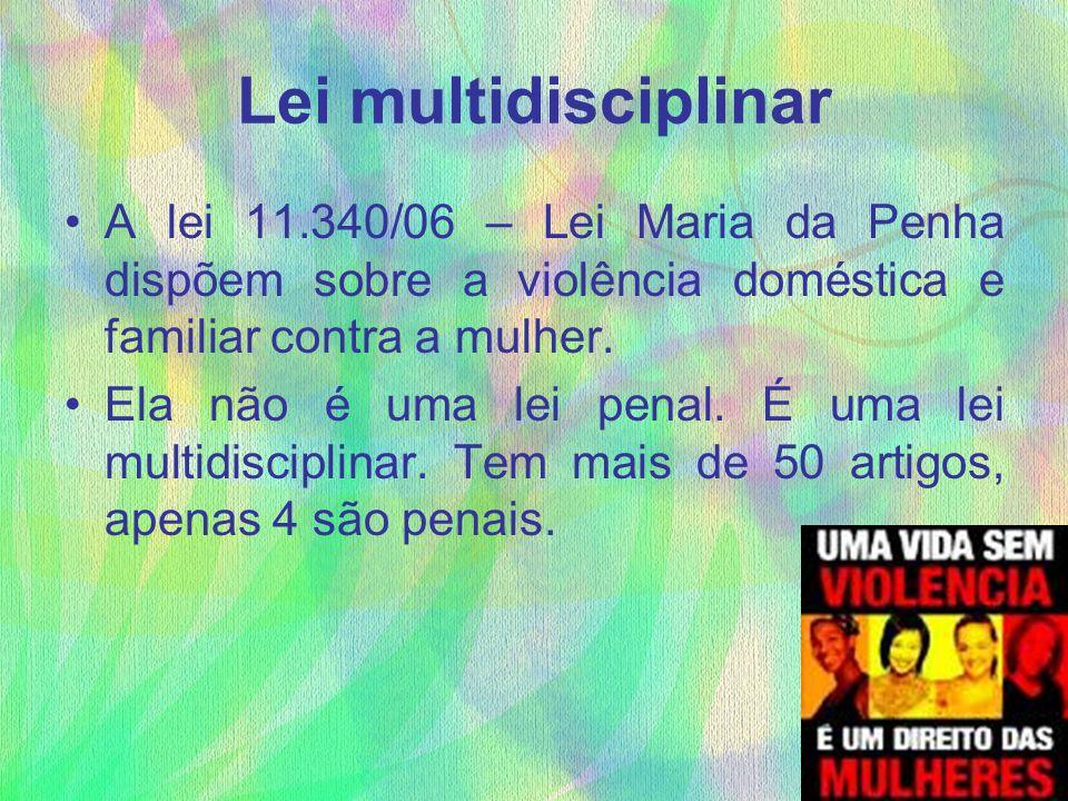 Lei multidisciplinar A lei 11.340/06 – Lei Maria da Penha dispõem sobre a violência doméstica e familiar contra a mulher. Ela não é uma lei penal. É u