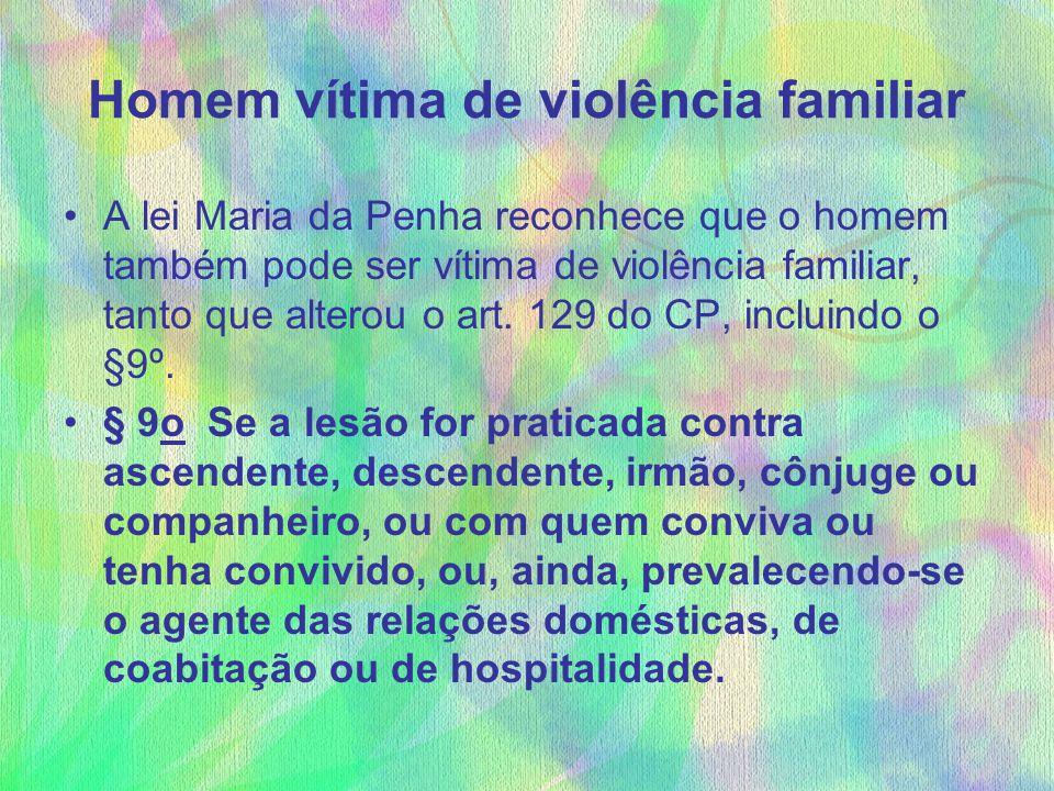 Homem vítima de violência familiar A lei Maria da Penha reconhece que o homem também pode ser vítima de violência familiar, tanto que alterou o art. 1