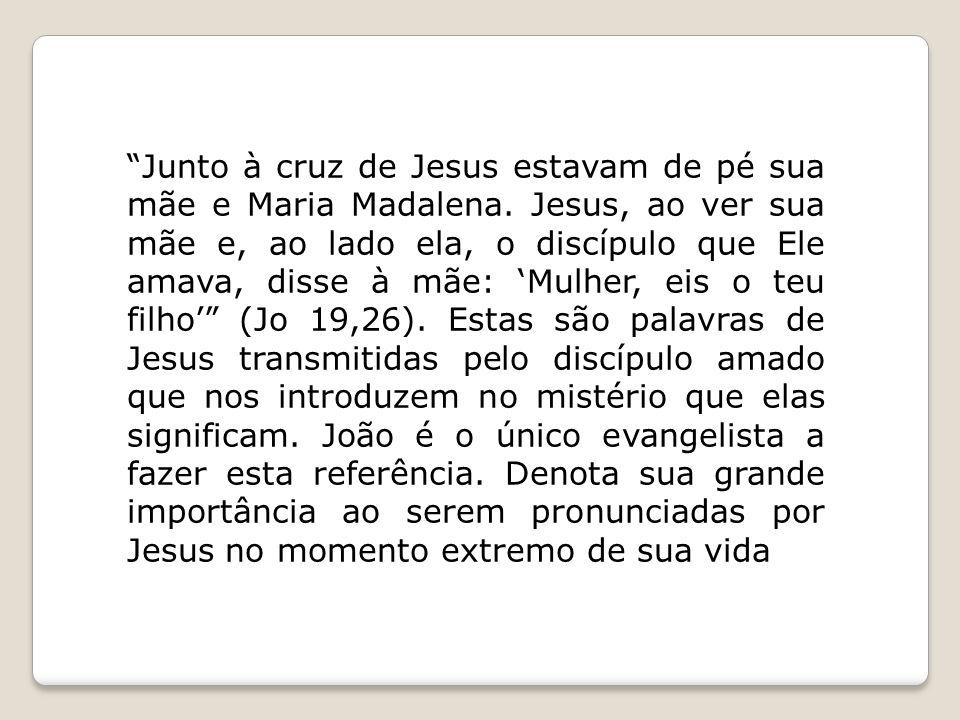 """""""Junto à cruz de Jesus estavam de pé sua mãe e Maria Madalena. Jesus, ao ver sua mãe e, ao lado ela, o discípulo que Ele amava, disse à mãe: 'Mulher,"""