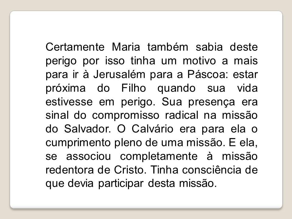 Certamente Maria também sabia deste perigo por isso tinha um motivo a mais para ir à Jerusalém para a Páscoa: estar próxima do Filho quando sua vida e