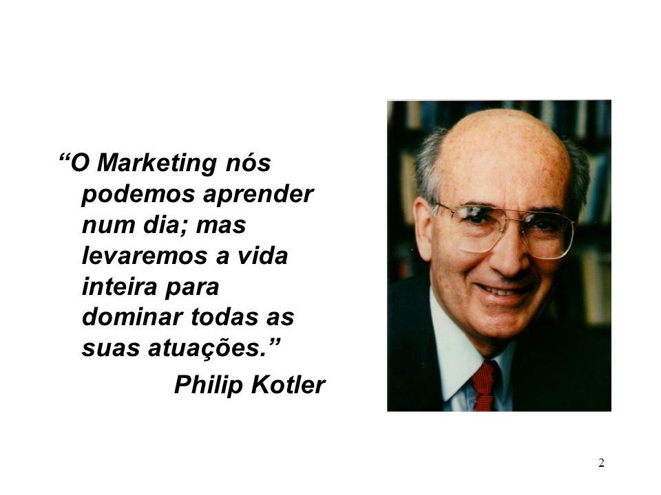 2 O Marketing nós podemos aprender num dia; mas levaremos a vida inteira para dominar todas as suas atuações. Philip Kotler