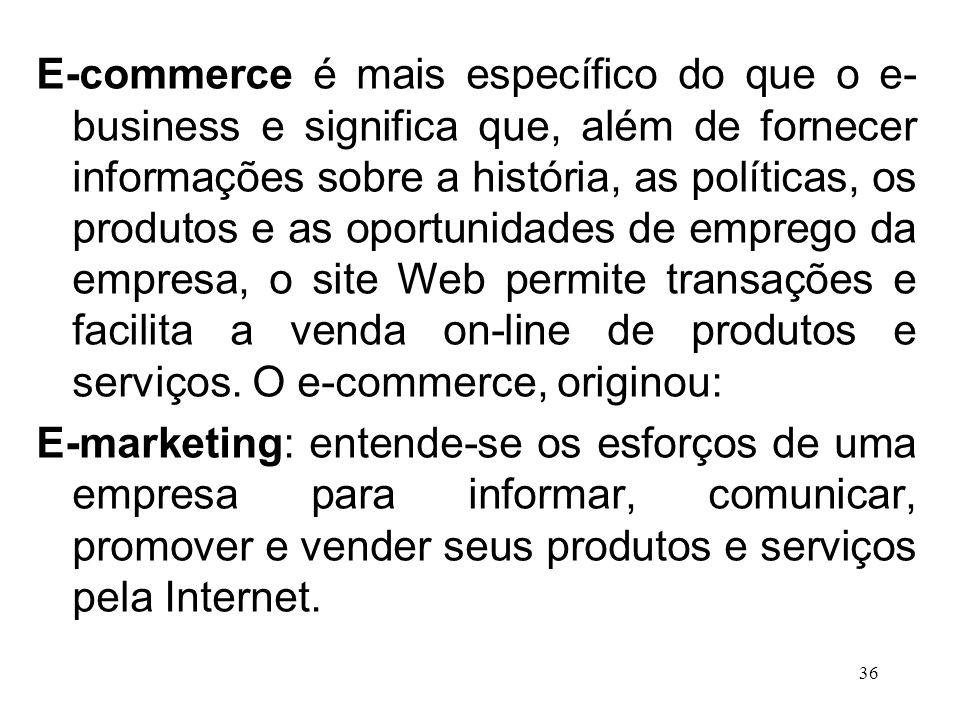 35 Como as práticas de MKT estão mudando: e-business E-business: uso de meios e plataformas eletrônicos para conduzir negócios de uma empresa.
