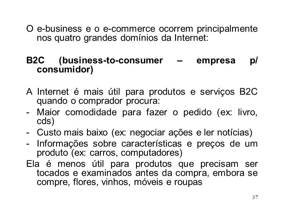 36 E-commerce é mais específico do que o e- business e significa que, além de fornecer informações sobre a história, as políticas, os produtos e as oportunidades de emprego da empresa, o site Web permite transações e facilita a venda on-line de produtos e serviços.