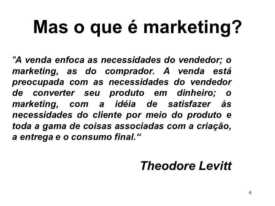 6 Mas o que é marketing. A venda enfoca as necessidades do vendedor; o marketing, as do comprador.