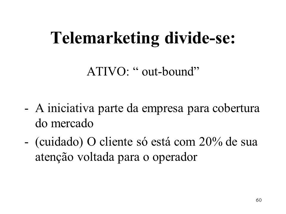 59 TELEMARKETING É o diálogo em tempo real a distância, de forma padronizada e sistemática, com o intuito de estreitar relacionamentos e realizar negócios. Ana Maria Moreira Monteiro