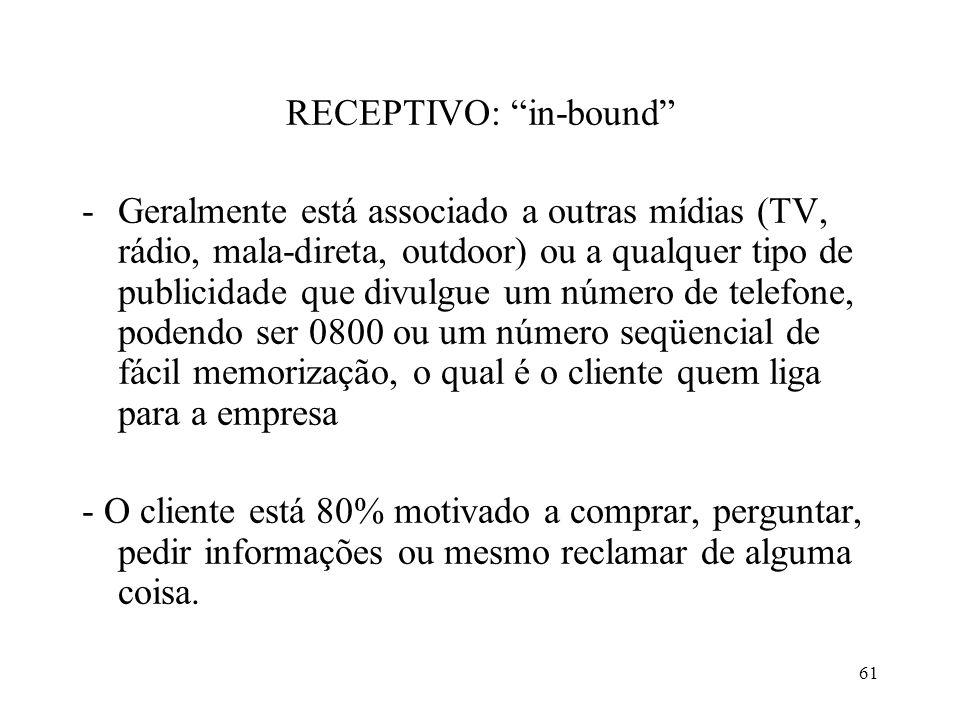 60 Telemarketing divide-se: ATIVO: out-bound -A iniciativa parte da empresa para cobertura do mercado -(cuidado) O cliente só está com 20% de sua atenção voltada para o operador
