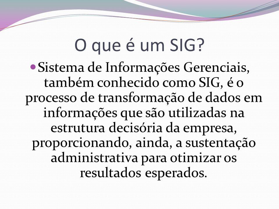 O que é um SIG? Sistema de Informações Gerenciais, também conhecido como SIG, é o processo de transformação de dados em informações que são utilizadas