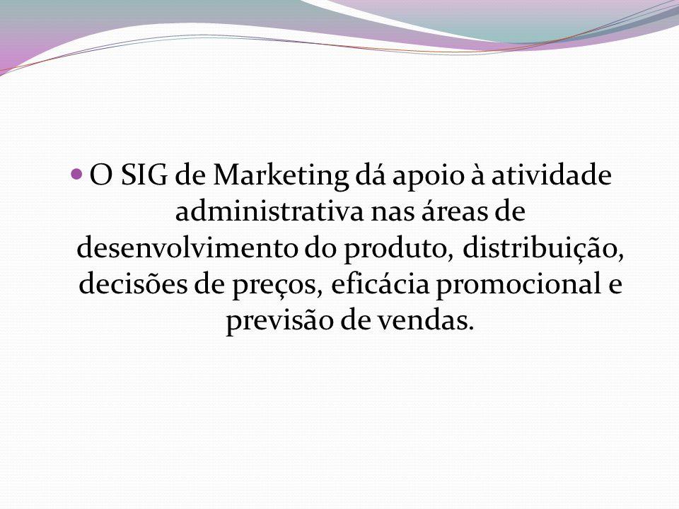 O SIG de Marketing dá apoio à atividade administrativa nas áreas de desenvolvimento do produto, distribuição, decisões de preços, eficácia promocional
