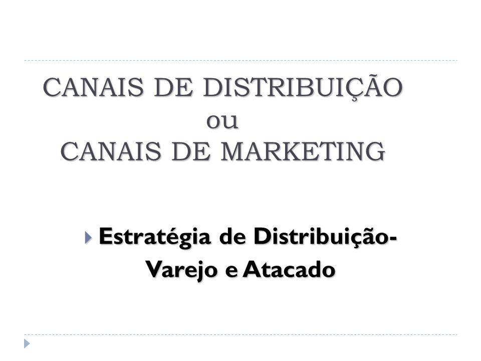 CANAIS DE DISTRIBUIÇÃO ou CANAIS DE MARKETING  Estratégia de Distribuição- Varejo e Atacado