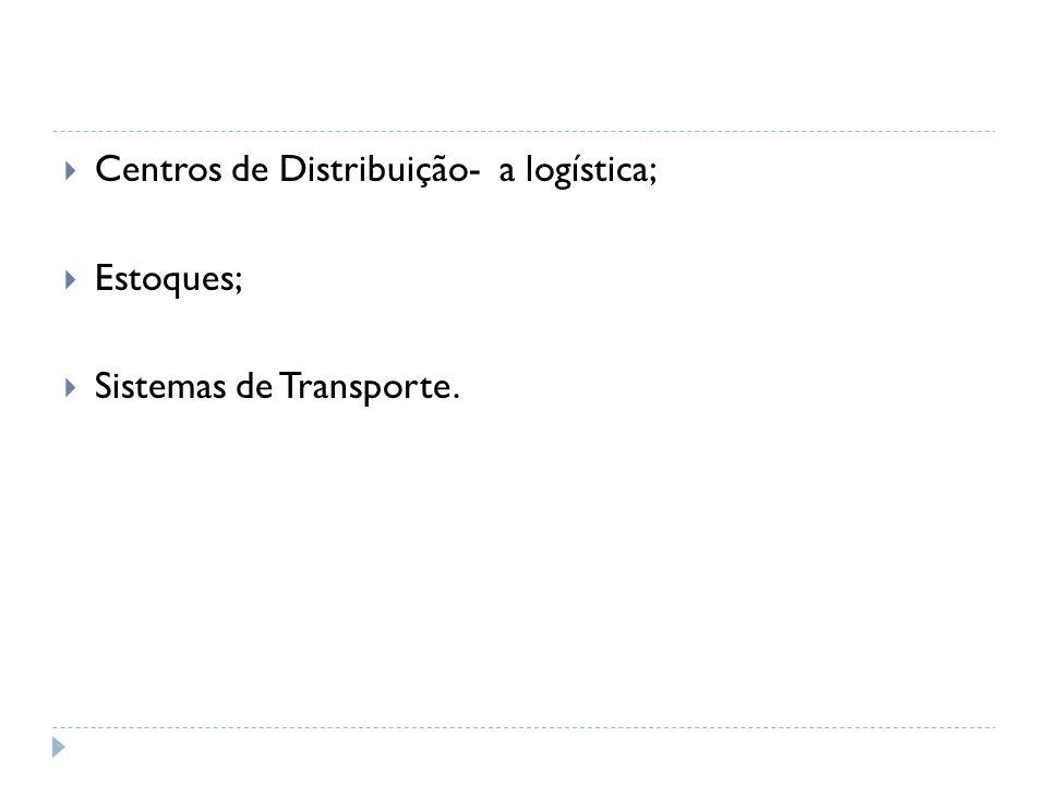  Centros de Distribuição- a logística;  Estoques;  Sistemas de Transporte.