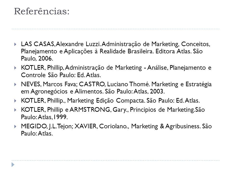 Referências:  LAS CASAS, Alexandre Luzzi. Administração de Marketing, Conceitos, Planejamento e Aplicações à Realidade Brasileira. Editora Atlas. São