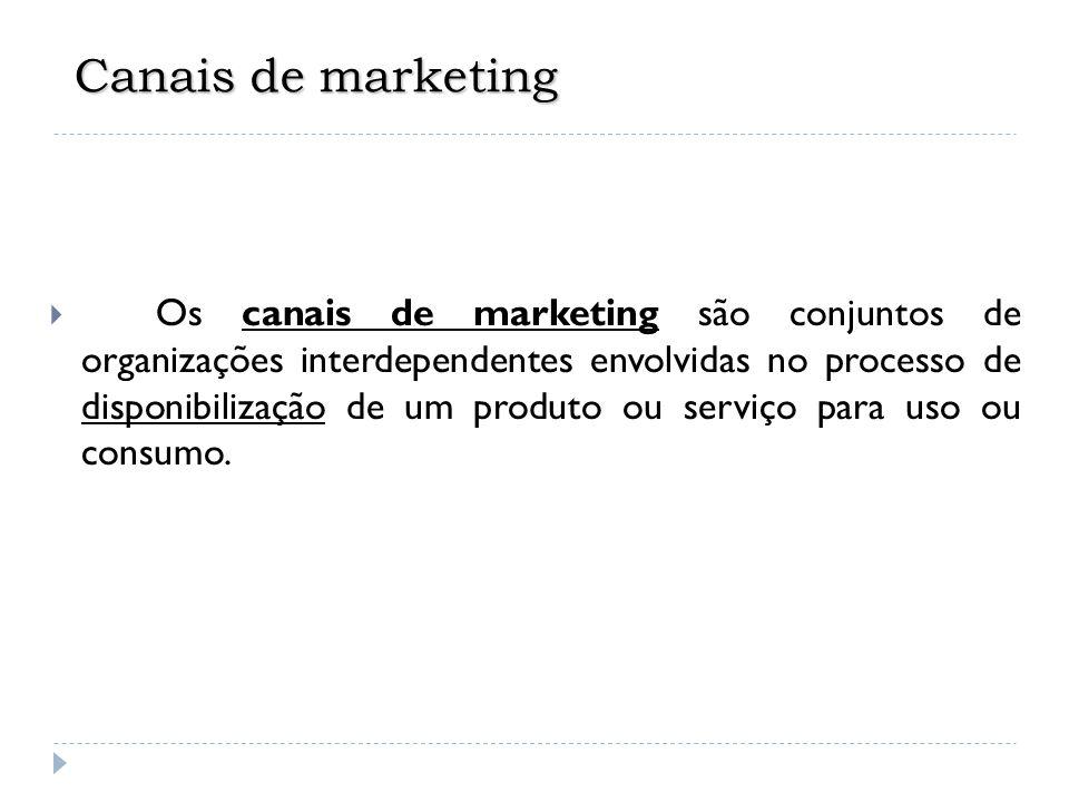 Canais de marketing  Os canais de marketing são conjuntos de organizações interdependentes envolvidas no processo de disponibilização de um produto o