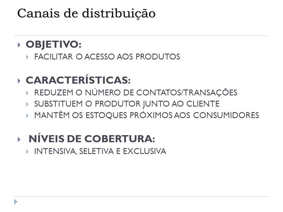 Número de Intermediários  Distribuição Exclusiva (l imitado n o de intermediários) - Controle sobre o nível e produção do serviço oferecido - Geralmente são firmados acordos de exclusividade - Maior dedicação e habilidade para venda - Maior parceria entre fabricante e revendedor (ex.