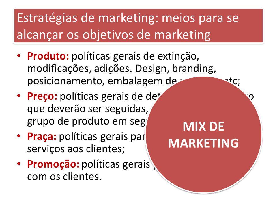 Estratégias de marketing: meios para se alcançar os objetivos de marketing Produto: políticas gerais de extinção, modificações, adições.