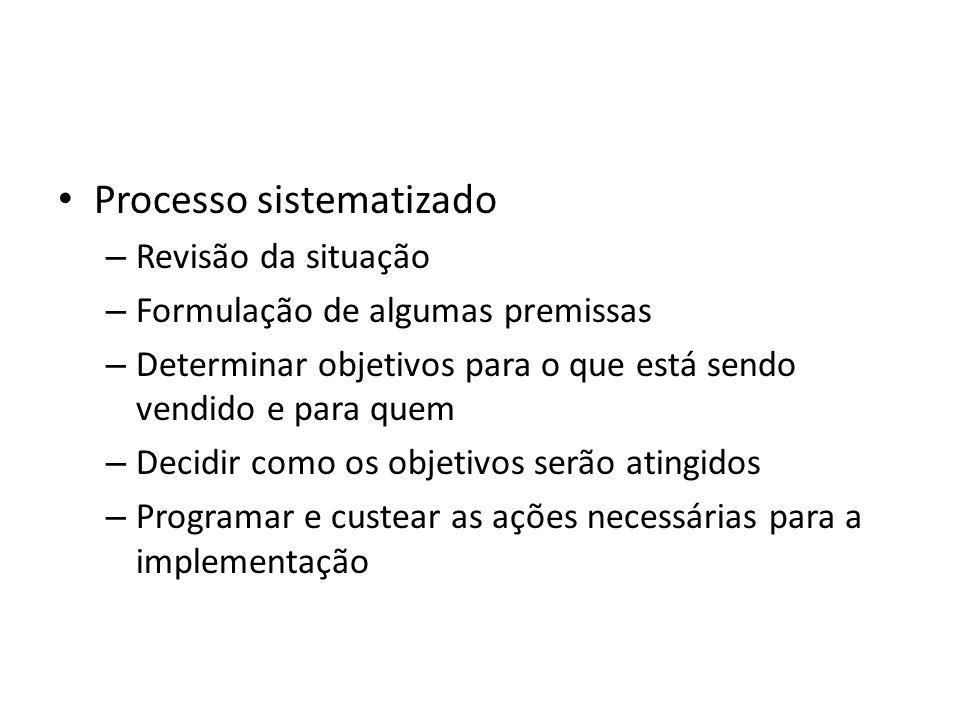 Processo sistematizado – Revisão da situação – Formulação de algumas premissas – Determinar objetivos para o que está sendo vendido e para quem – Decidir como os objetivos serão atingidos – Programar e custear as ações necessárias para a implementação