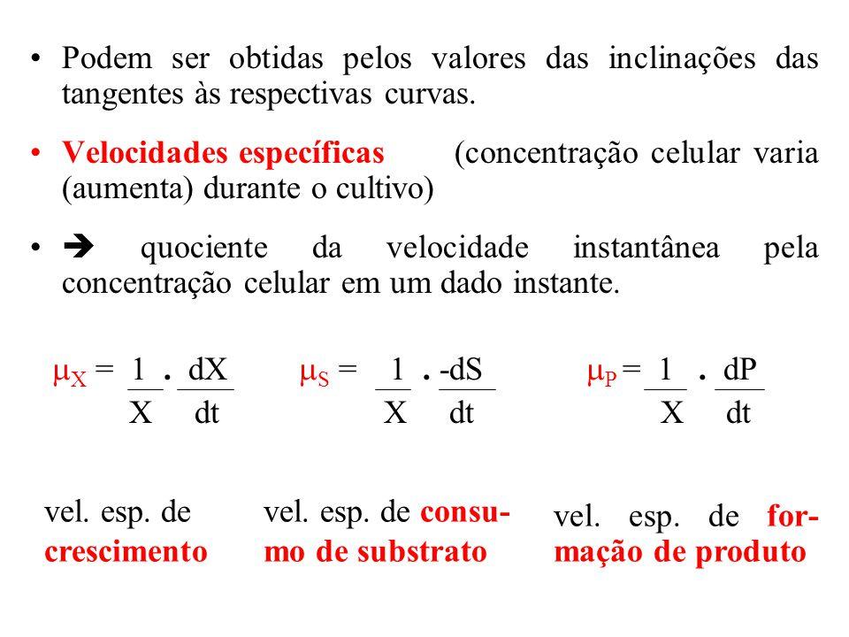 Fatores de conversão Num determinado tempo t de fermentação, os valores de X, S e P podem ser relacionados entre si pelos fatores de conversão.