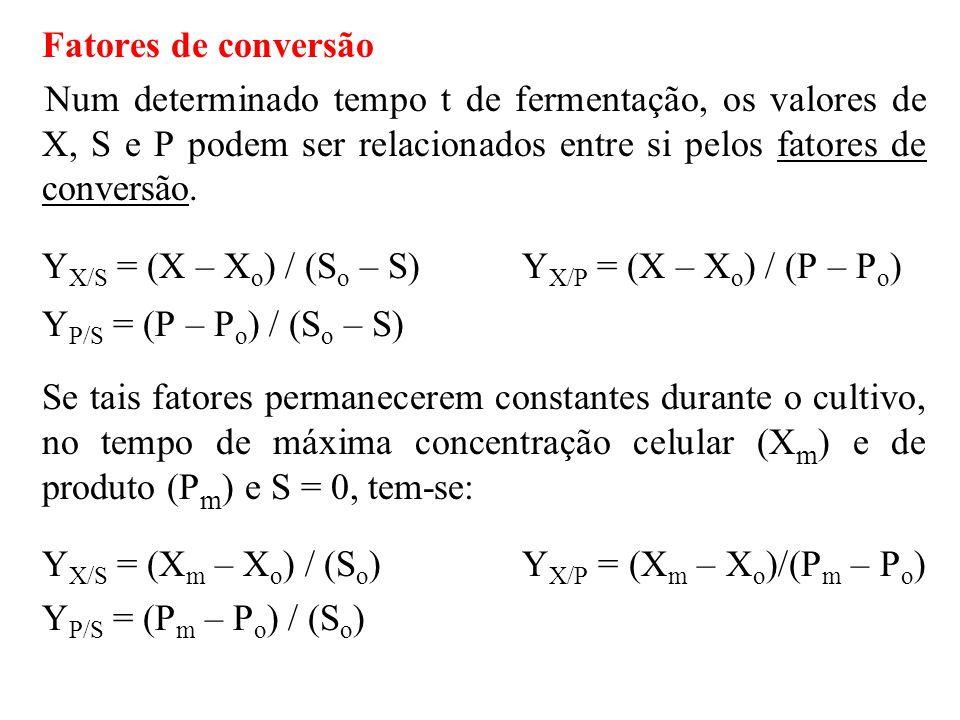 Combinando-se as duas expressões para Y X/S tem-se: Y X/S = (X m – X) / S  Forma mais adequada para cálculo do fator de conversão.