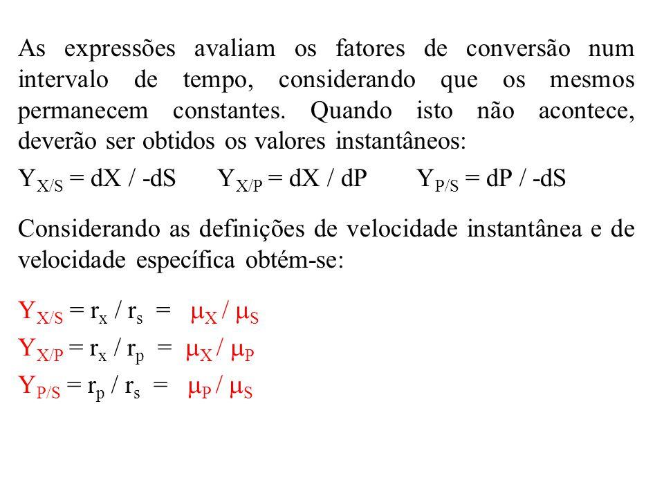 Em fermentações industriais, dificilmente estes fatores de conversão são constantes.