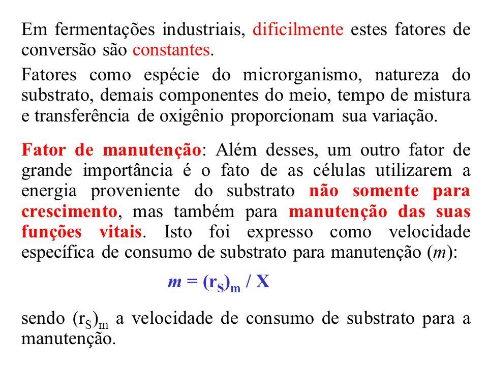 Acrescentando esse termo ao balanço material para substrato tem-se: r S = (r S ) C + (r S ) m, que resulta: r S = (r S ) C + m.