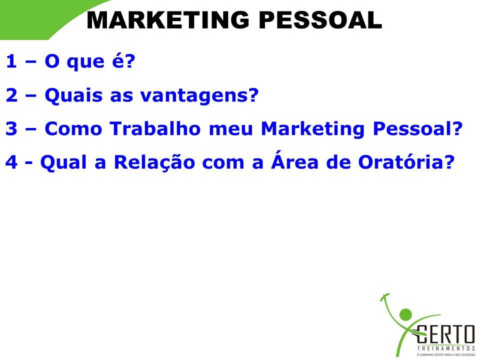 MARKETING PESSOAL Quanto à necessidade do Marketing Pessoal É uma valorização pessoal e profissional.