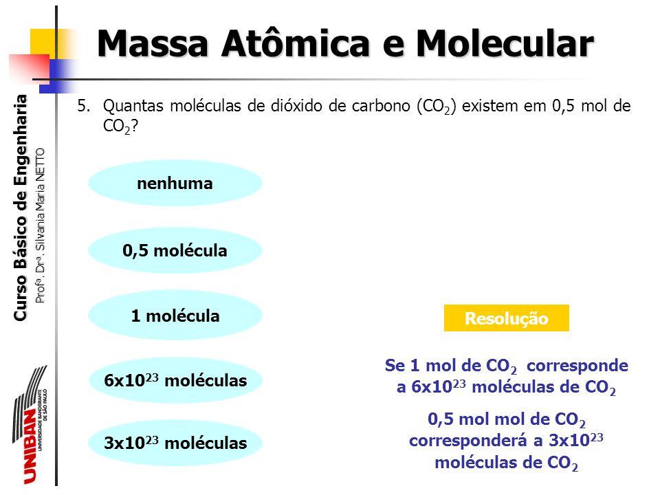 Curso Básico de Engenharia Prof a. Dr a. Silvania Maria NETTO É possível, ainda, utilizar o número de Avogadro para determinar a massa de uma única mo