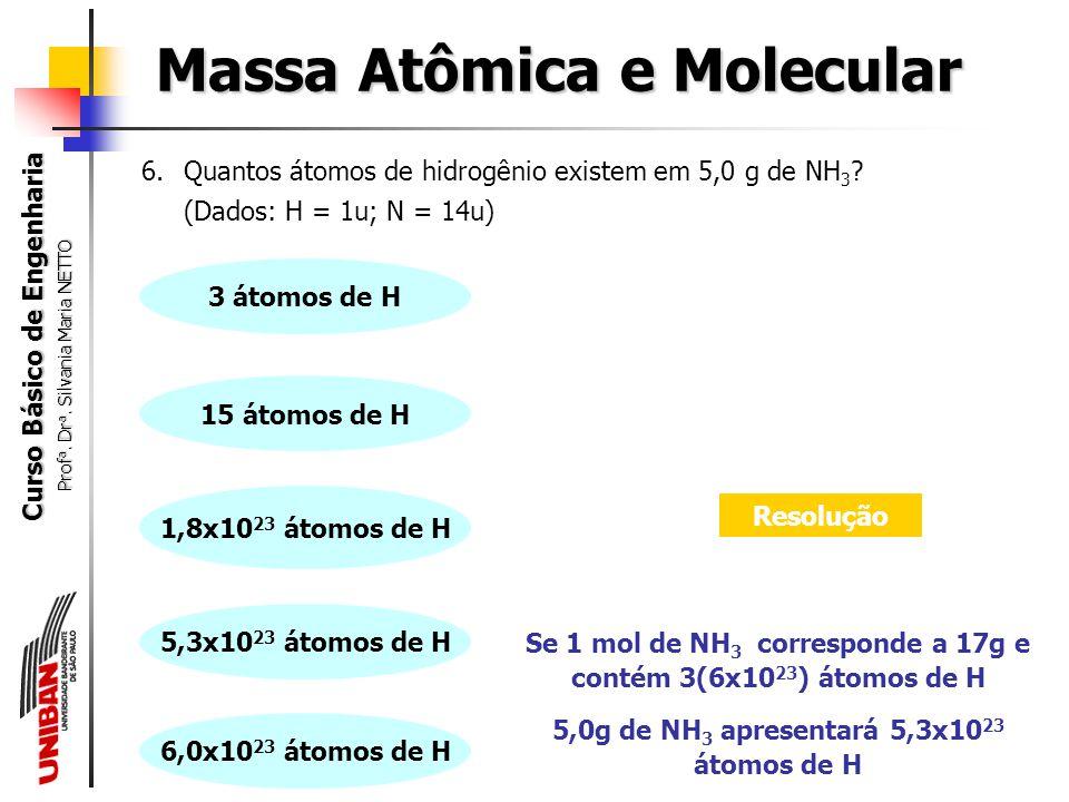 Curso Básico de Engenharia Prof a. Dr a. Silvania Maria NETTO 5.Quantas moléculas de dióxido de carbono (CO 2 ) existem em 0,5 mol de CO 2 ? Massa Atô