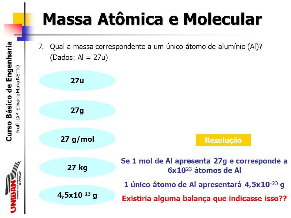 Curso Básico de Engenharia Prof a. Dr a. Silvania Maria NETTO 6.Quantos átomos de hidrogênio existem em 5,0 g de NH 3 ? (Dados: H = 1u; N = 14u) Massa