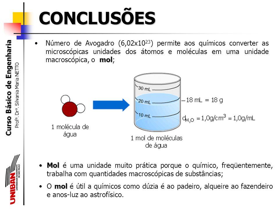 Curso Básico de Engenharia Prof a. Dr a. Silvania Maria NETTO É necessário, sempre, a compreensão da linguagem química e sua simbologia para um adequa