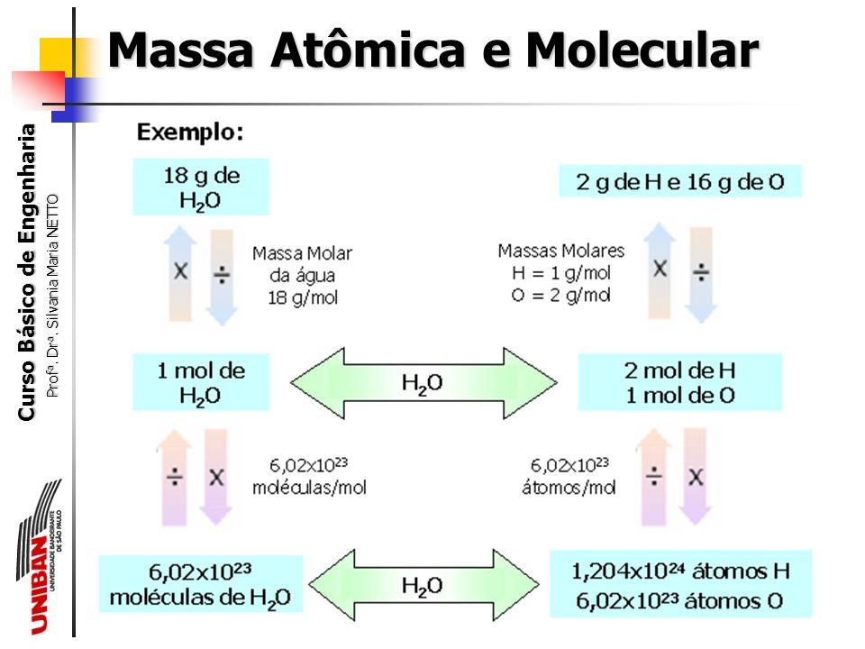 Curso Básico de Engenharia Prof a. Dr a. Silvania Maria NETTO Massa Atômica e Molecular