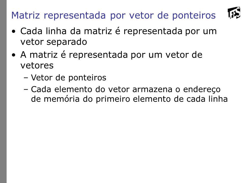 Matriz representada por vetor de ponteiros Cada linha da matriz é representada por um vetor separado A matriz é representada por um vetor de vetores –