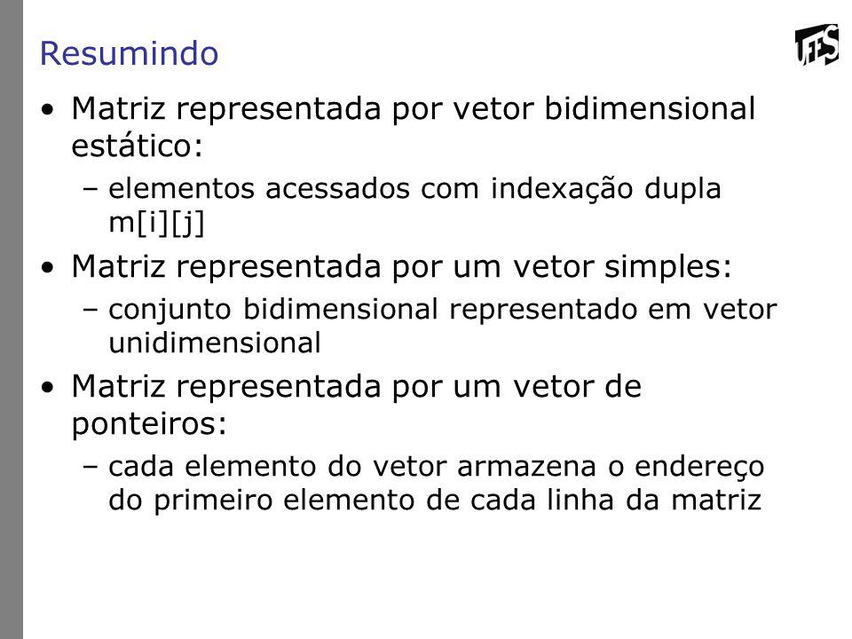 Resumindo Matriz representada por vetor bidimensional estático: –elementos acessados com indexação dupla m[i][j] Matriz representada por um vetor simp