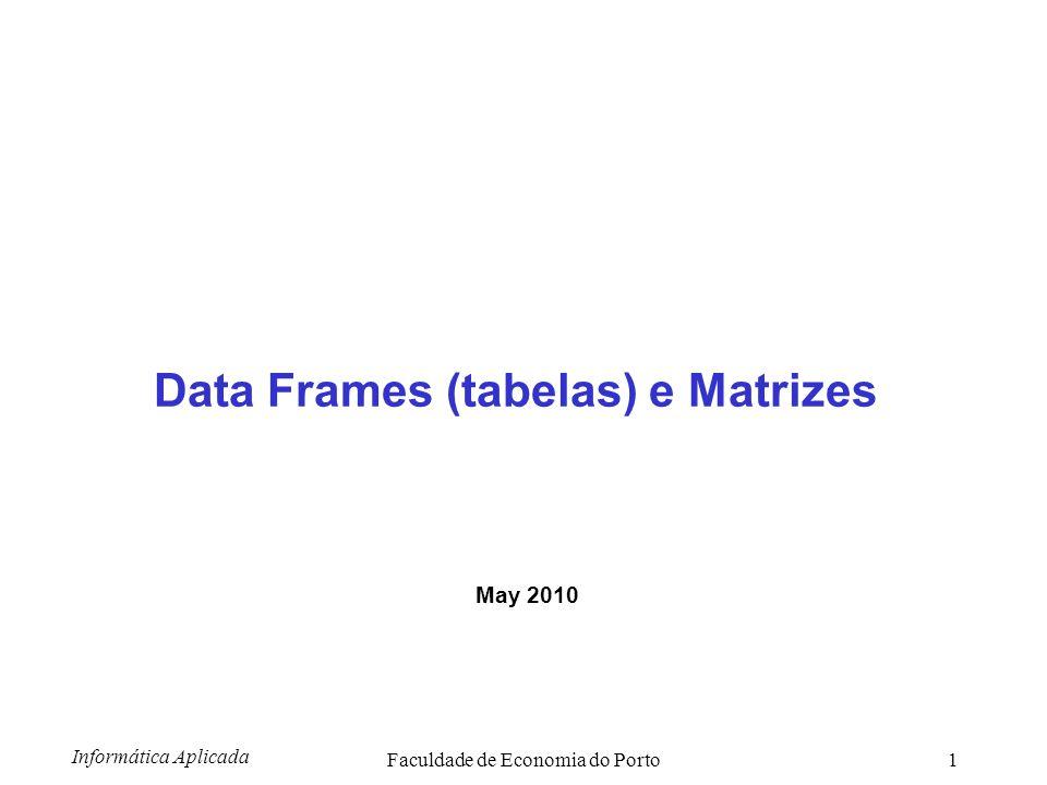 Informática Aplicada Faculdade de Economia do Porto2 Sumário Data Frames (tabelas) Matrizes Importar dados para R