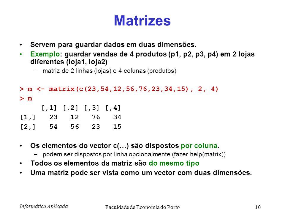 Informática Aplicada Faculdade de Economia do Porto10 Matrizes Servem para guardar dados em duas dimensões. Exemplo: guardar vendas de 4 produtos (p1,