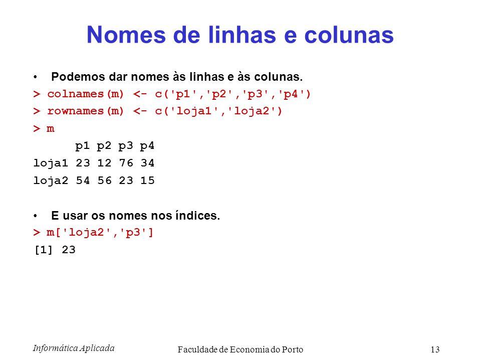 Informática Aplicada Faculdade de Economia do Porto13 Nomes de linhas e colunas Podemos dar nomes às linhas e às colunas. > colnames(m) <- c('p1','p2'