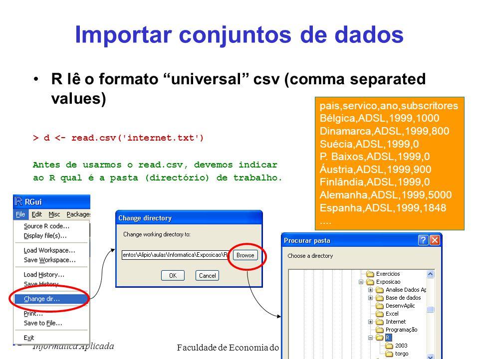 "Informática Aplicada Faculdade de Economia do Porto19 Importar conjuntos de dados R lê o formato ""universal"" csv (comma separated values) > d <- read."