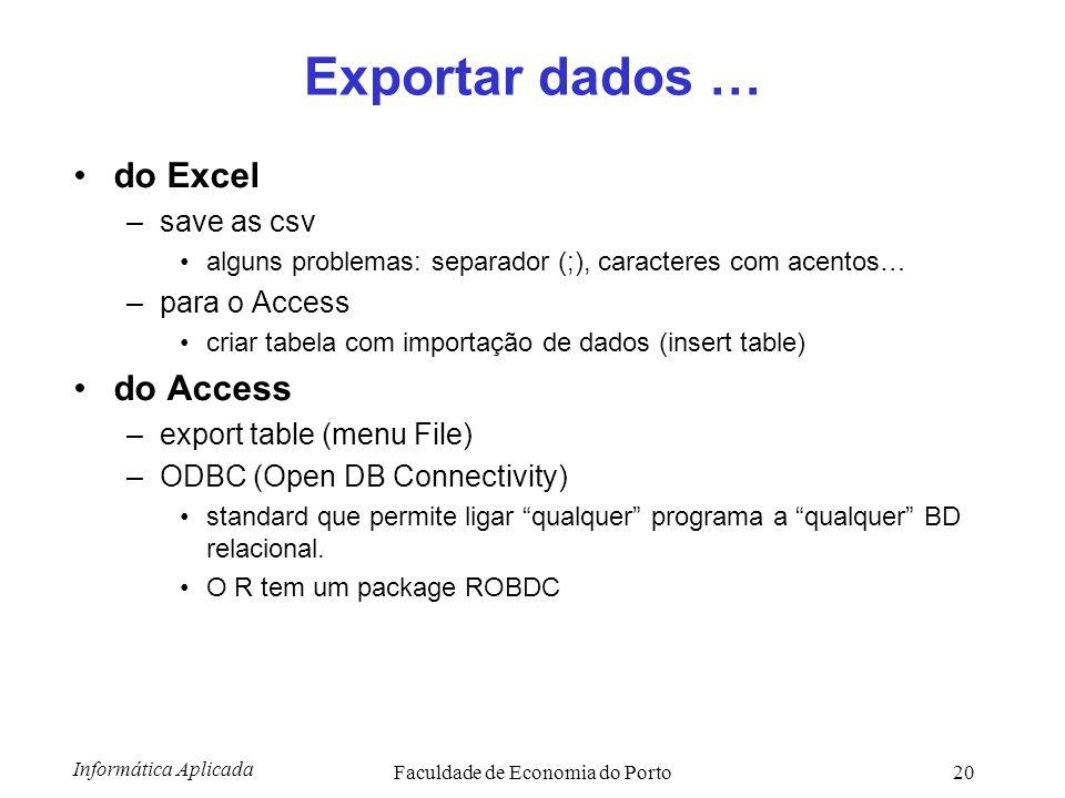 Informática Aplicada Faculdade de Economia do Porto20 Exportar dados … do Excel –save as csv alguns problemas: separador (;), caracteres com acentos…