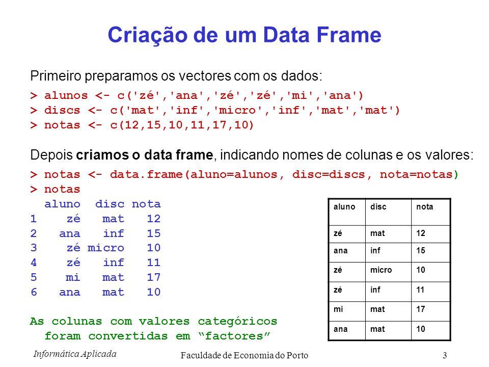 Informática Aplicada Faculdade de Economia do Porto4 Preparação fácil de Data Frame Primeiro preparamos um data frame vazio: > notas1 <- data.frame() Depois chamamos a função edit(..) para inserir os valores (maneira interactiva): notas1 <- edit(notas1) Se os valores estiver bem digitados, teremos: > notas1 aluno disc nota 1 zé mat 12 2 ana inf 15 3 zé micro 10 4 zé inf 11 5 mi mat 17 6 ana mat 10 alunodiscnota zémat12 anainf15 zémicro10 zéinf11 mimat17 anamat10