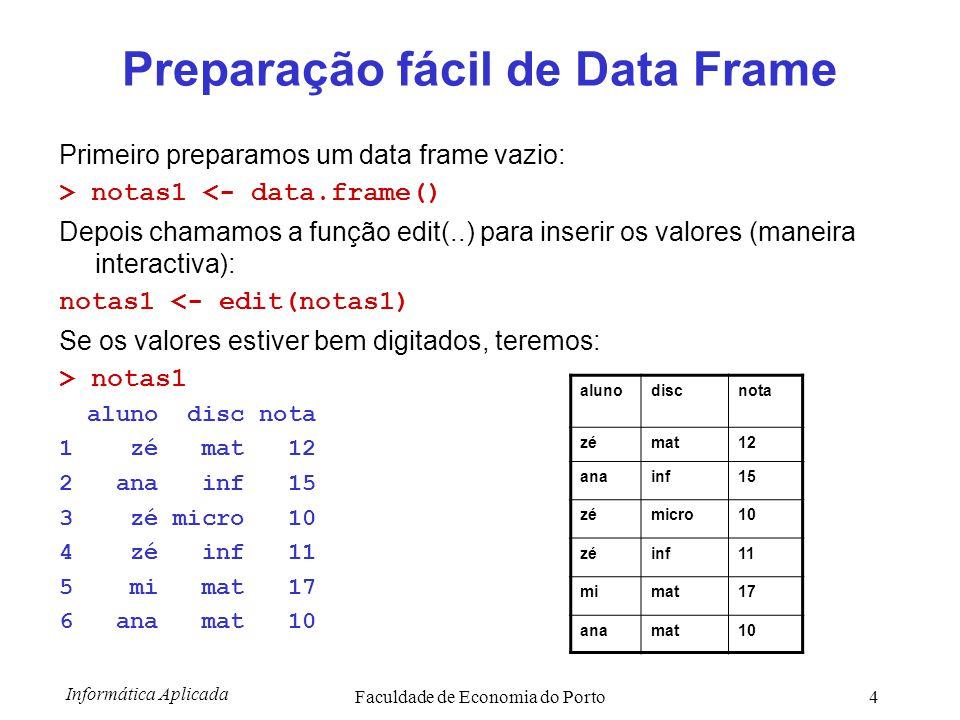 Informática Aplicada Faculdade de Economia do Porto15 Outras operações com matrizes > m1 [,1] [,2] [,3] [1,] 1 1 1 [2,] 1 1 1 Transposição da matriz m1 > t(m1) [,1] [,2] [1,] 1 1 [2,] 1 1 [3,] 1 1 Determinante > m3 <- martix(c(34,-23,43,5),2,2) > det(m3) > 1159 Matriz inversa de uma matriz quadrada > solve(m3) [,1] [,2] [1,] 0.004314064 -0.03710096 [2,] 0.019844694 0.02933563