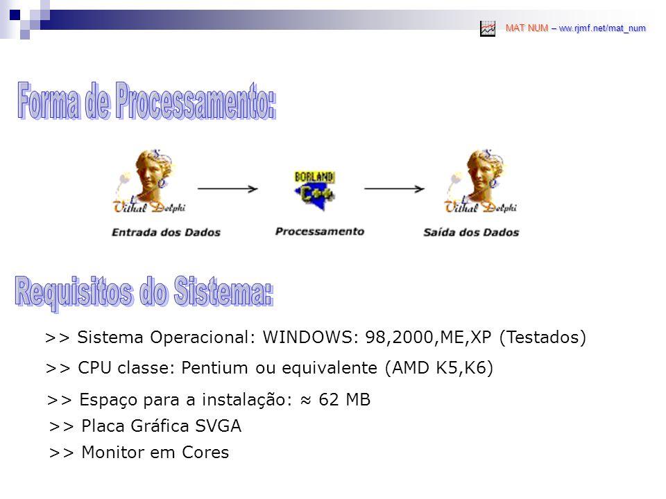 >> Sistema Operacional: WINDOWS: 98,2000,ME,XP (Testados) MAT NUM – ww.rjmf.net/mat_num >> CPU classe: Pentium ou equivalente (AMD K5,K6) >> Espaço para a instalação: ≈ 62 MB >> Placa Gráfica SVGA >> Monitor em Cores