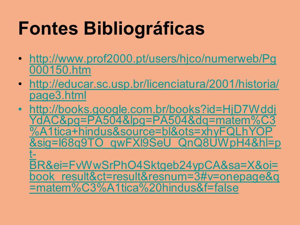 Fontes Bibliográficas http://www.prof2000.pt/users/hjco/numerweb/Pg 000150.htmhttp://www.prof2000.pt/users/hjco/numerweb/Pg 000150.htm http://educar.s