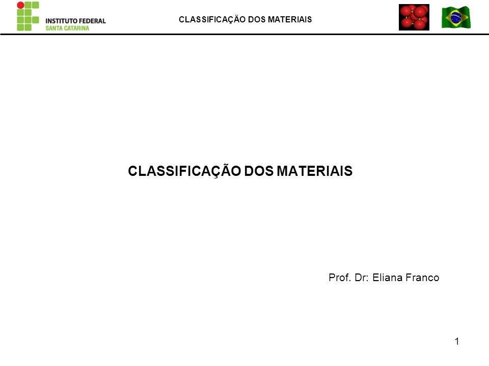 CLASSIFICAÇÃO DOS MATERIAIS Prof. Dr: Eliana Franco CLASSIFICAÇÃO DOS MATERIAIS 1