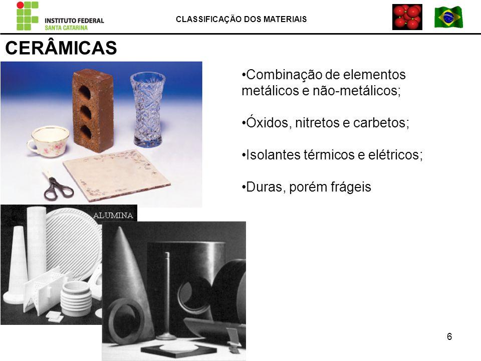 CERÂMICAS Combinação de elementos metálicos e não-metálicos; Óxidos, nitretos e carbetos; Isolantes térmicos e elétricos; Duras, porém frágeis CLASSIF