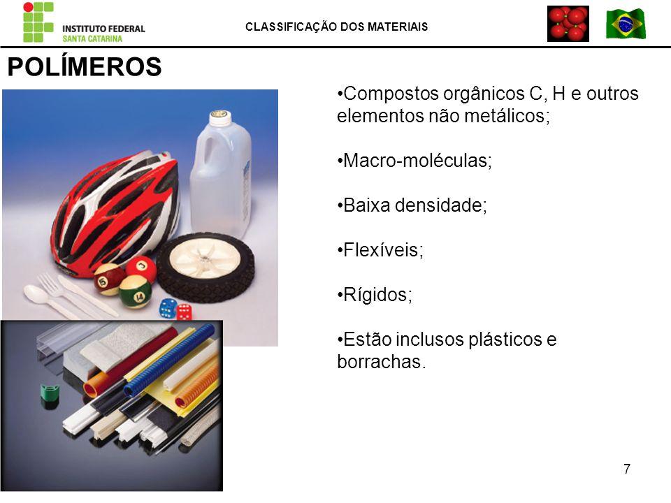 POLÍMEROS Compostos orgânicos C, H e outros elementos não metálicos; Macro-moléculas; Baixa densidade; Flexíveis; Rígidos; Estão inclusos plásticos e