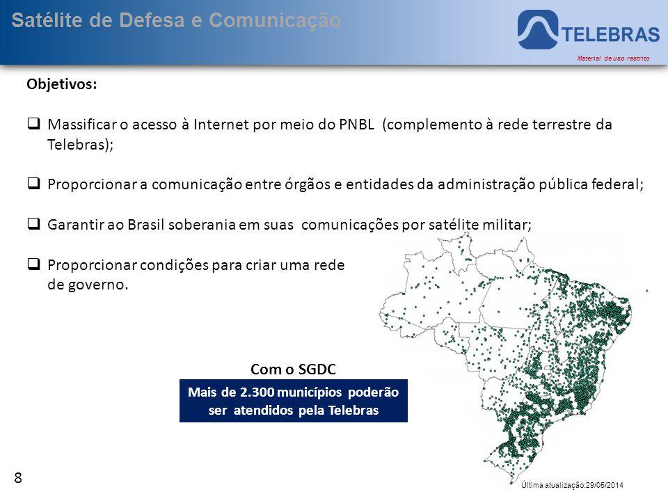 9 Última atualização:29/05/2014 Material de uso restrito Satélite de Defesa e Comunicação  Dividido em 3 regiões distintas  X  Ka  Atendimento de todo o território brasileiro;  Incluindo 200 milhas náuticas do mar territorial.