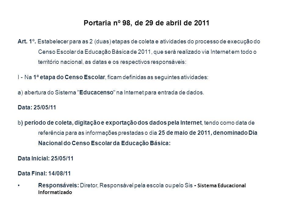 Portaria nº 98, de 29 de abril de 2011 Art. 1º. Estabelecer para as 2 (duas) etapas de coleta e atividades do processo de execução do Censo Escolar da