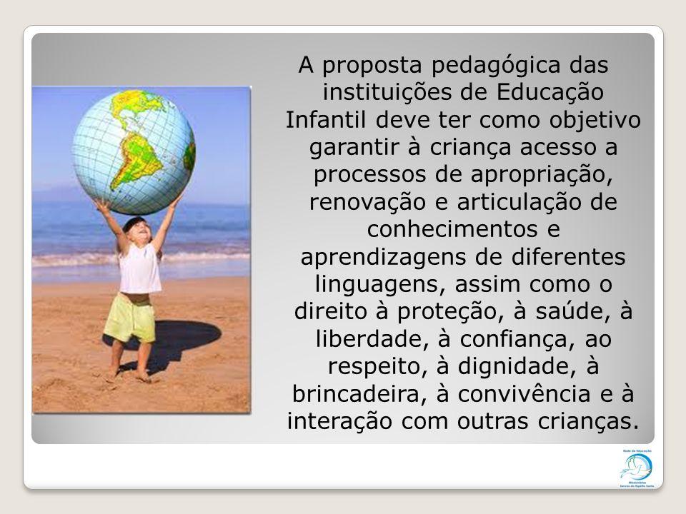 A proposta pedagógica das instituições de Educação Infantil deve ter como objetivo garantir à criança acesso a processos de apropriação, renovação e a