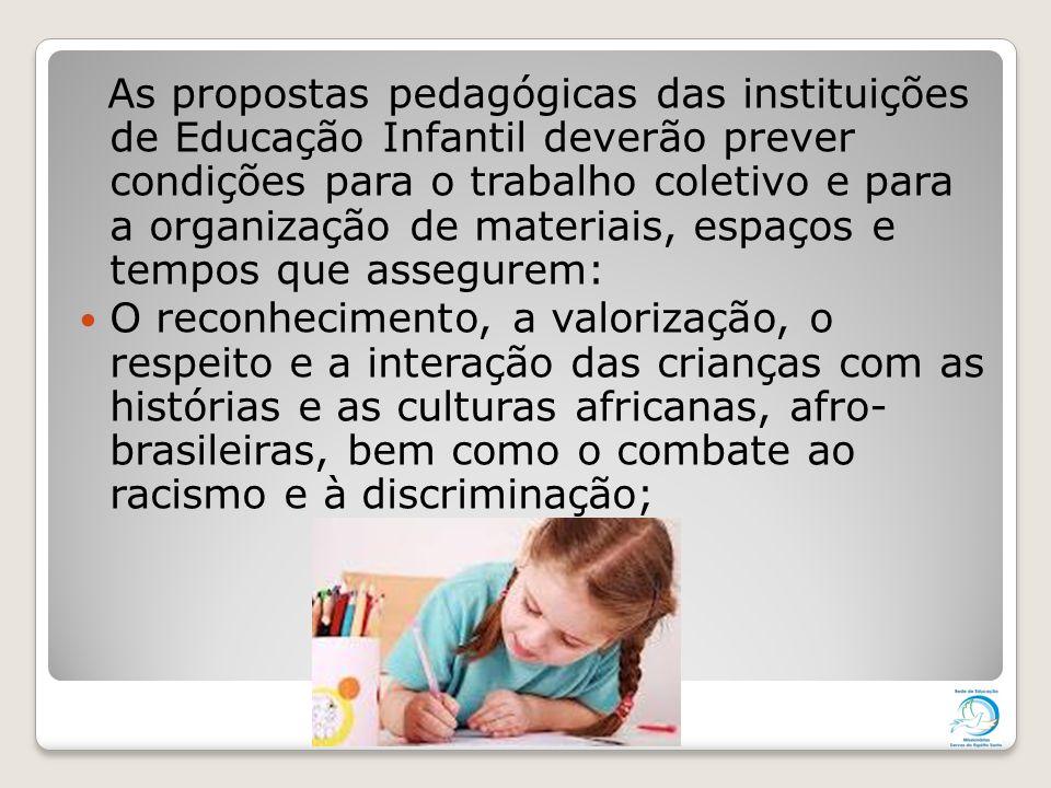 As propostas pedagógicas das instituições de Educação Infantil deverão prever condições para o trabalho coletivo e para a organização de materiais, es